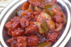 传统印地安食物辣椒鸡特写镜头 库存图片