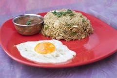传统印地安食物鸡炒饭 免版税库存照片