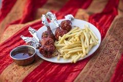 传统印地安食物鸡Lollypop 免版税库存照片