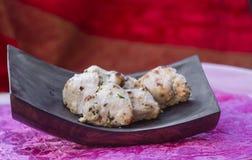 传统印地安食物鸡malai tikka烤了鸡brea 免版税库存图片