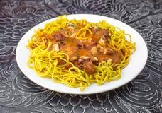 传统印地安食物黄油鸡Speggetti 免版税图库摄影
