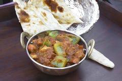 传统印地安食物Kadhai鸡Tawa羊肉 免版税库存图片