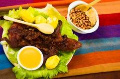 传统厄瓜多尔盘、烤试验品延长在绿色板材上,土豆、tostados和柠檬在边 免版税库存照片