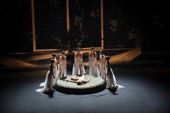 传统压缩现代芭蕾:中华的金莲花 免版税库存照片