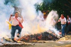 传统巴厘语Kecak和火在新北市跳舞 免版税图库摄影