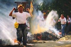 传统巴厘语Kecak和火在新北市跳舞 免版税库存照片