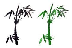 传统古老中国手画竹子 免版税库存照片