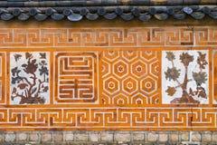 传统古老装饰砖墙样式和背景, Kor 免版税图库摄影