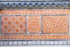 传统古老装饰砖墙样式和背景, Kor 免版税库存照片