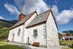 传统古色古香的挪威石教会 色泽 旅行Norwa 免版税库存图片