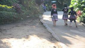 传统和使用与朋友的儿童种族Hmong穿戴服装 影视素材