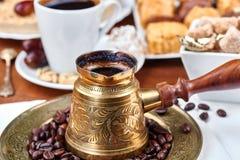 传统土耳其无奶咖啡 库存照片
