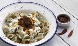 传统土耳其烹调- Manti 库存图片