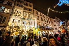 传统圣诞节市场在历史的史特拉斯堡法国 库存照片