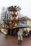 传统圣诞节市场在老镇波茨坦。圣诞节磨房。 免版税库存照片