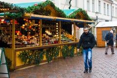 传统圣诞节市场在老镇波茨坦。 图库摄影