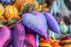 传统圣诞节市场装饰 库存图片