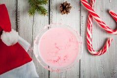 传统圣诞节桃红色鸡尾酒棒棒糖拳打 免版税库存照片