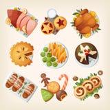 传统圣诞节食物 免版税库存图片