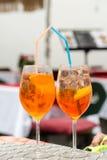 传统在意大利喷在一个酒吧的开胃酒 库存照片