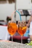 传统在意大利喷在一个酒吧的开胃酒 库存图片