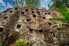 传统洞坟墓在岩石雕刻了在Lemo 塔娜Toraja,南苏拉威西岛,印度尼西亚 免版税库存照片