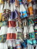 传统埃赛俄比亚的纺织品显示,亚的斯亚贝巴 免版税库存照片