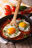 传统墨西哥与辣调味汁特写镜头的早餐煎蛋 Vert 免版税库存图片