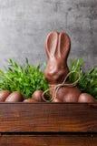 传统复活节巧克力兔宝宝和鸡蛋在一个木板箱里面 免版税库存照片