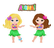 传统夏威夷舞蹈家服装的逗人喜爱的动画片女孩 库存例证