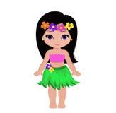 传统夏威夷舞蹈家服装的逗人喜爱的动画片女孩 向量例证