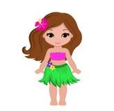 传统夏威夷舞蹈家服装的逗人喜爱的动画片女孩 皇族释放例证
