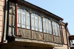 传统外高加索英王乔治一世至三世时期建筑学,第比利斯 库存照片