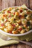 传统多彩多姿的意大利式饺子用巴马干酪和香肠 免版税库存照片