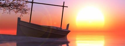 传统小船在巴利阿里群岛 库存图片