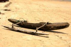 传统小船从树干, Nosi雕刻了是,马达加斯加, 库存照片