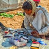 传统市场在普斯赫卡尔 传统礼服cha的印地安人 免版税库存照片