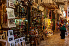 传统市场在耶路撒冷耶路撒冷旧城  图库摄影