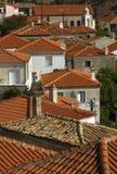 传统希腊村庄鸟瞰图  库存照片