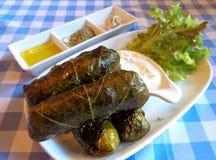 传统希腊语Dolmades,葡萄叶子充塞用米和草本与酸奶垂度 免版税库存照片