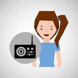 传统微笑的女孩音乐的收音机 免版税图库摄影