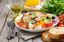 传统意大利人Panzanella沙拉用新鲜的蕃茄和酥脆面包 免版税库存照片