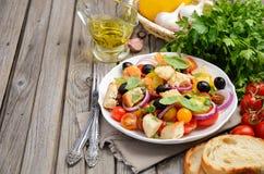 传统意大利人Panzanella沙拉用新鲜的蕃茄和酥脆面包 免版税库存图片