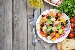 传统意大利人Panzanella沙拉用新鲜的蕃茄和酥脆面包 免版税图库摄影