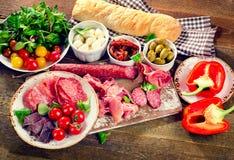 传统意大利开胃小菜 库存照片