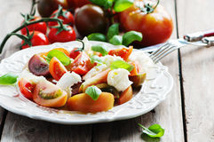 传统意大利开胃小菜caprese用无盐干酪 免版税库存照片