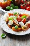 传统意大利开胃小菜caprese用无盐干酪 免版税图库摄影
