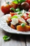 传统意大利开胃小菜caprese用无盐干酪 免版税库存图片