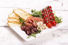 传统意大利开胃菜的分类 免版税库存照片