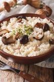传统意大利意大利煨饭用狂放的porcini蘑菇关闭  库存图片